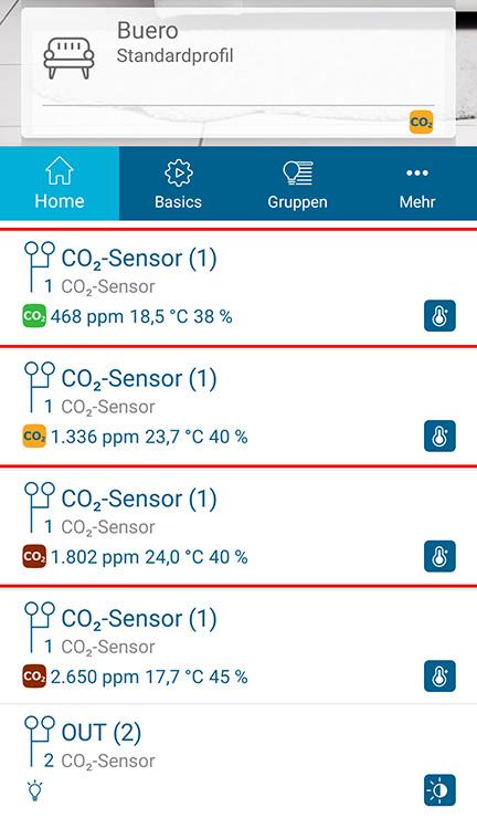 Senzor CO2 v aplikaci Homematic IP